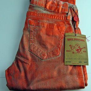 Burnt Orange Metallic True Religion Skinny Jeans